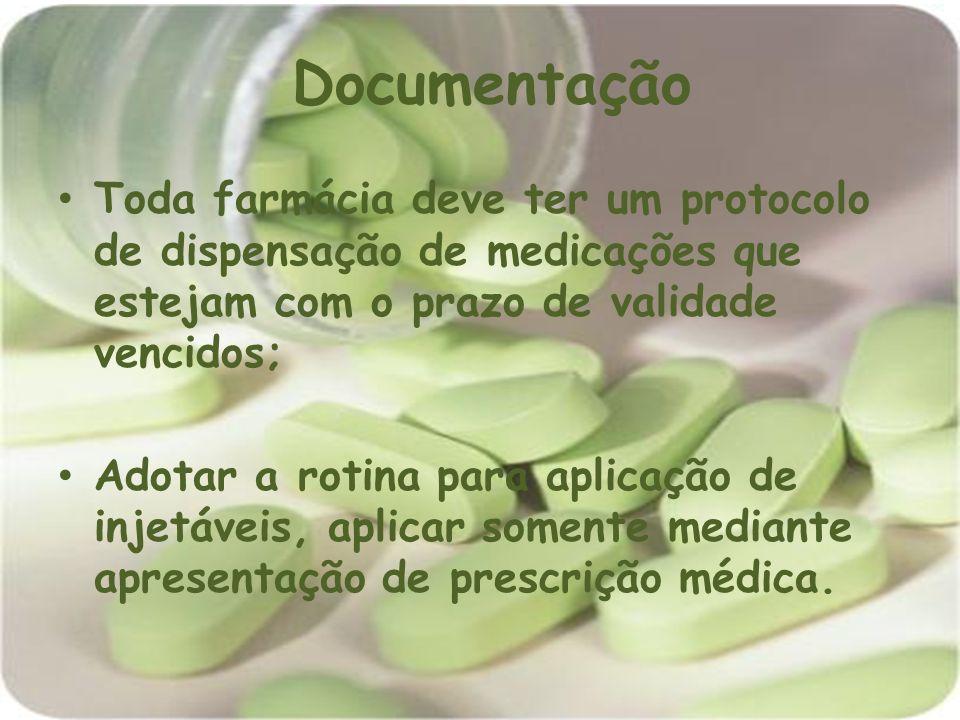 Documentação Toda farmácia deve ter um protocolo de dispensação de medicações que estejam com o prazo de validade vencidos;
