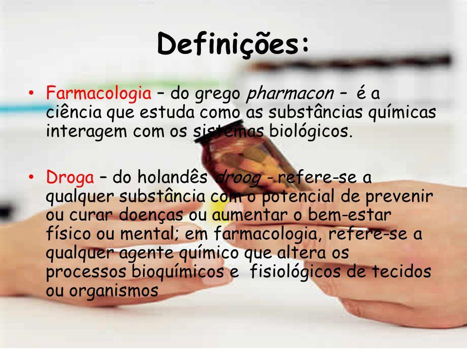 Definições: Farmacologia – do grego pharmacon – é a ciência que estuda como as substâncias químicas interagem com os sistemas biológicos.