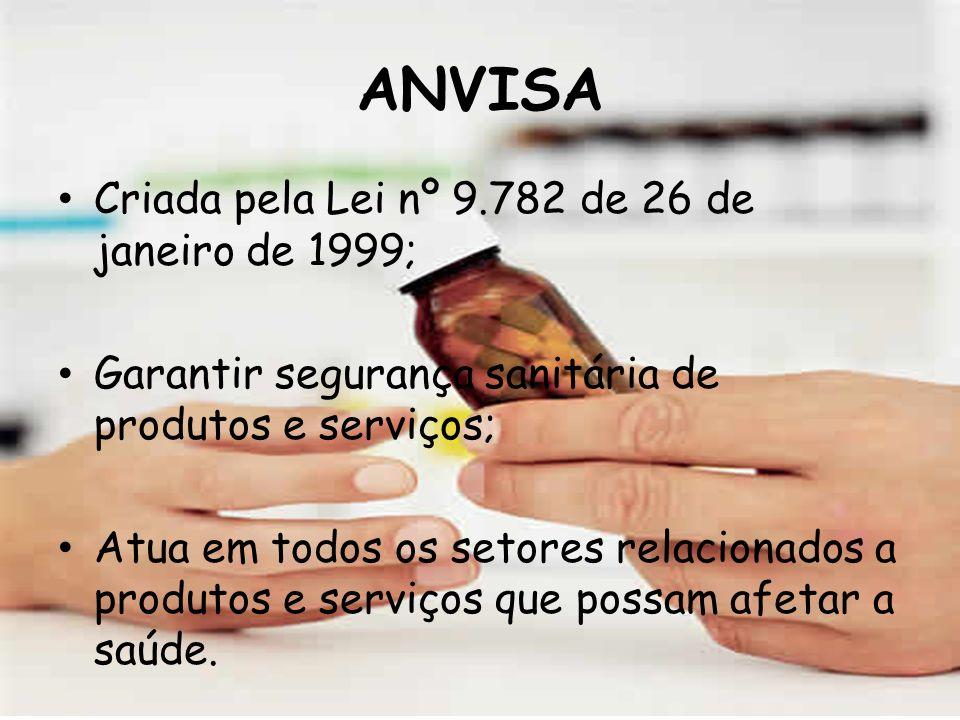 ANVISA Criada pela Lei nº 9.782 de 26 de janeiro de 1999;