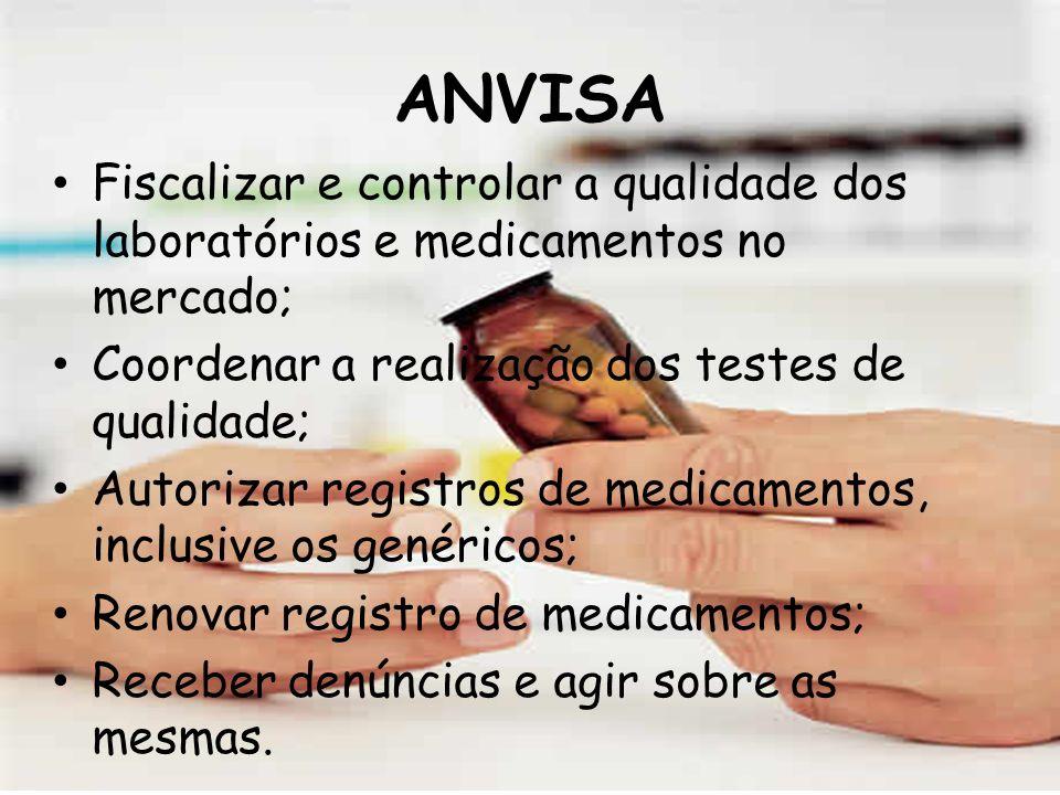 ANVISA Fiscalizar e controlar a qualidade dos laboratórios e medicamentos no mercado; Coordenar a realização dos testes de qualidade;