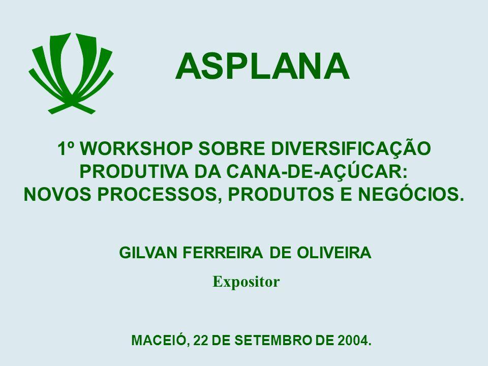 ASPLANA 1º WORKSHOP SOBRE DIVERSIFICAÇÃO PRODUTIVA DA CANA-DE-AÇÚCAR: