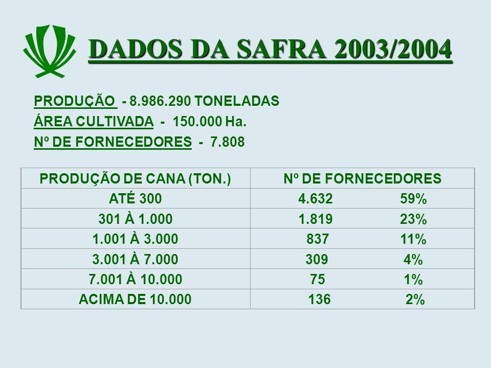 DADOS DA SAFRA 2003/2004 PRODUÇÃO - 8.986.290 TONELADAS