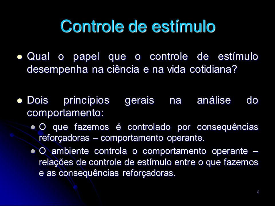 Controle de estímulo Qual o papel que o controle de estímulo desempenha na ciência e na vida cotidiana
