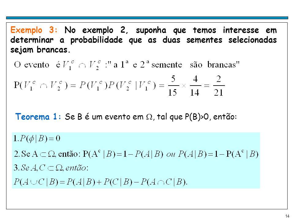 Exemplo 3: No exemplo 2, suponha que temos interesse em determinar a probabilidade que as duas sementes selecionadas sejam brancas.