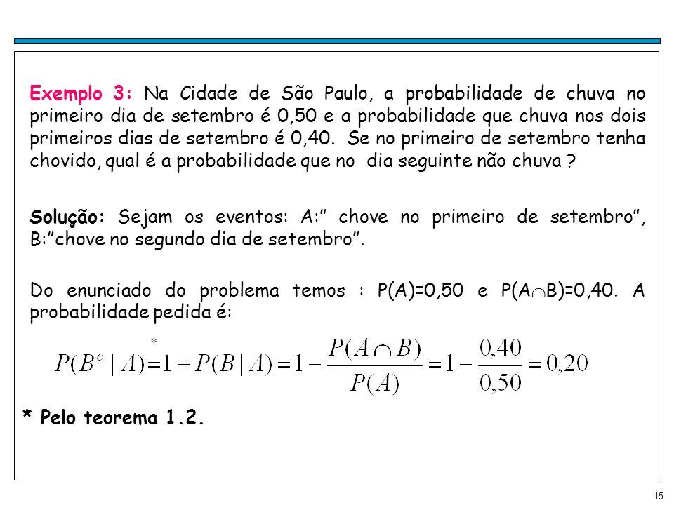 Exemplo 3: Na Cidade de São Paulo, a probabilidade de chuva no primeiro dia de setembro é 0,50 e a probabilidade que chuva nos dois primeiros dias de setembro é 0,40. Se no primeiro de setembro tenha chovido, qual é a probabilidade que no dia seguinte não chuva