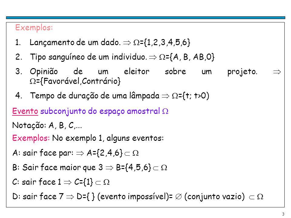 Exemplos: Lançamento de um dado.  ={1,2,3,4,5,6} Tipo sanguíneo de um individuo.  ={A, B, AB,0}