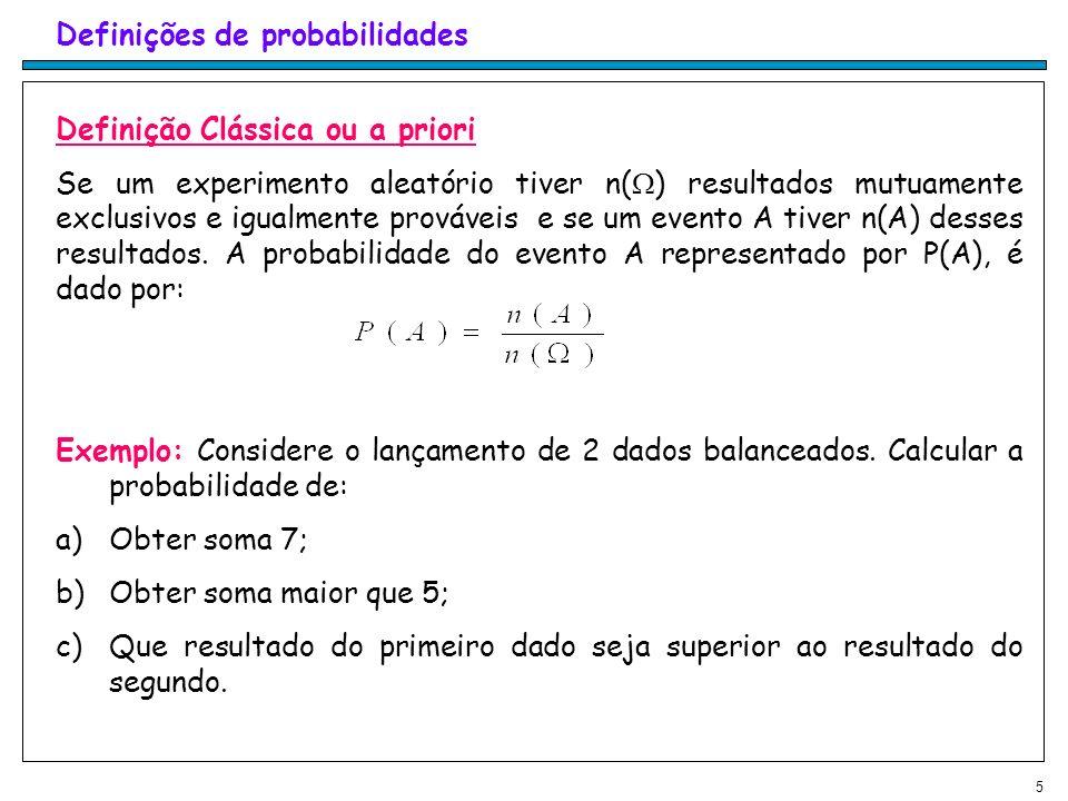 Definições de probabilidades