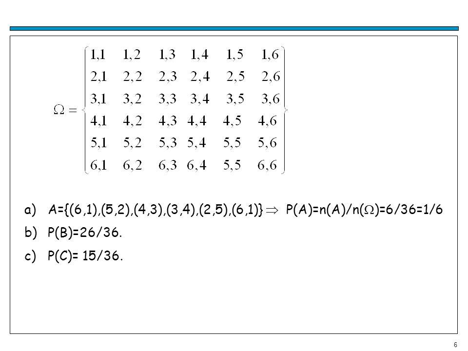 A={(6,1),(5,2),(4,3),(3,4),(2,5),(6,1)}  P(A)=n(A)/n()=6/36=1/6