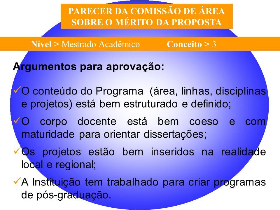 PARECER DA COMISSÃO DE ÁREA SOBRE O MÉRITO DA PROPOSTA