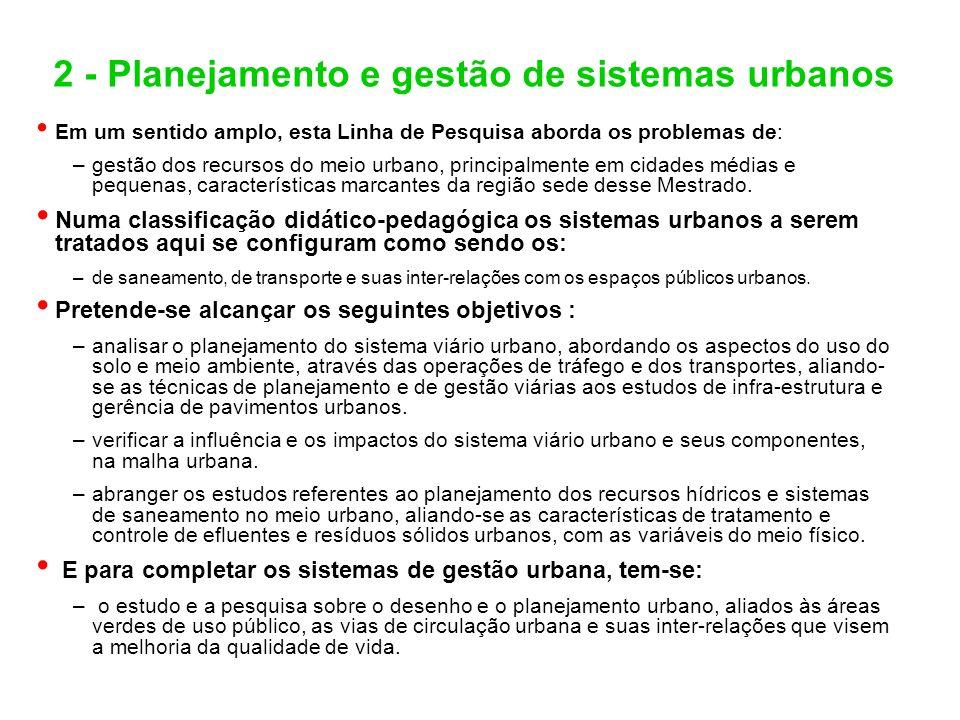 2 - Planejamento e gestão de sistemas urbanos