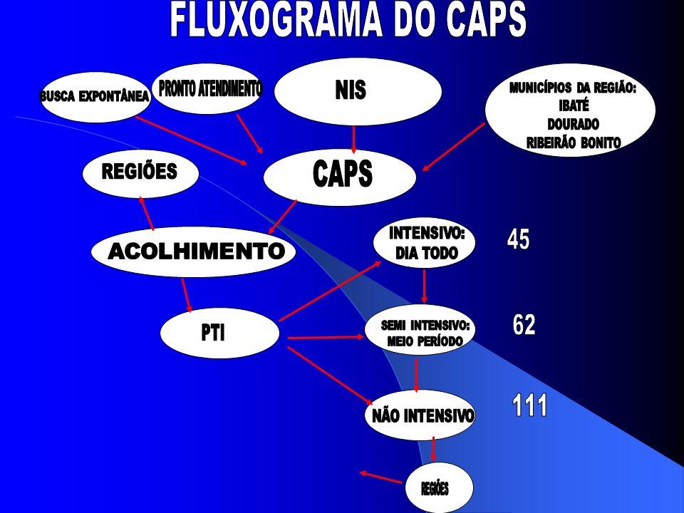 FLUXOGRAMA DO CAPS CAPS 45 62 111 NIS REGIÕES PRONTO ATENDIMENTO