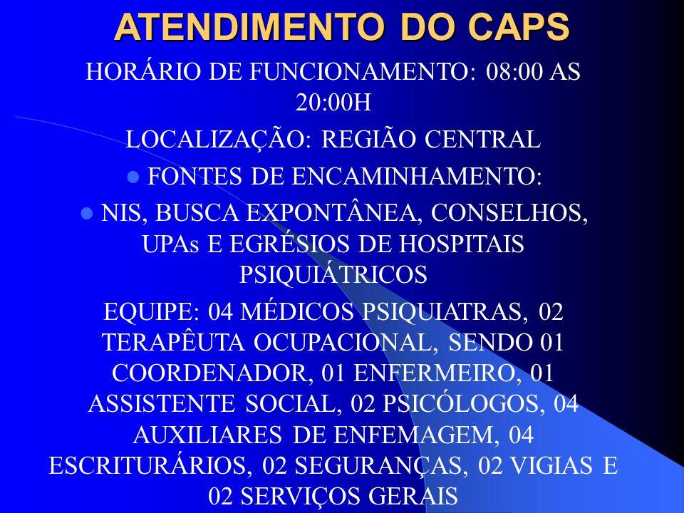 ATENDIMENTO DO CAPS HORÁRIO DE FUNCIONAMENTO: 08:00 AS 20:00H