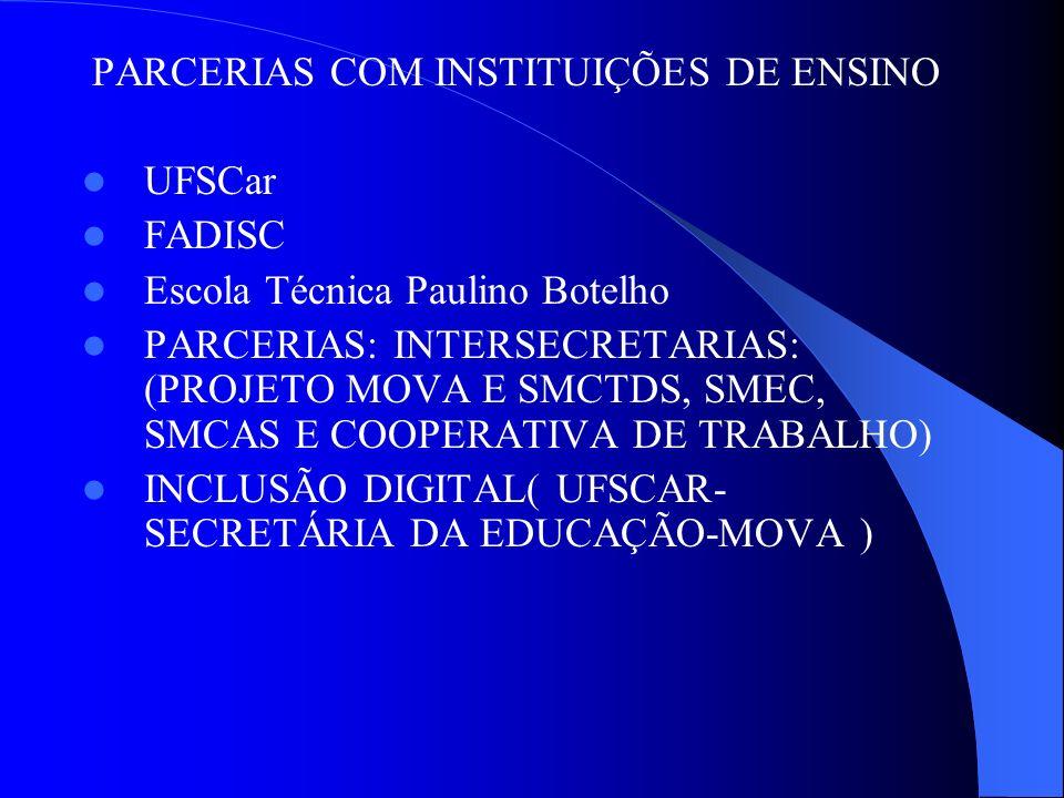 PARCERIAS COM INSTITUIÇÕES DE ENSINO