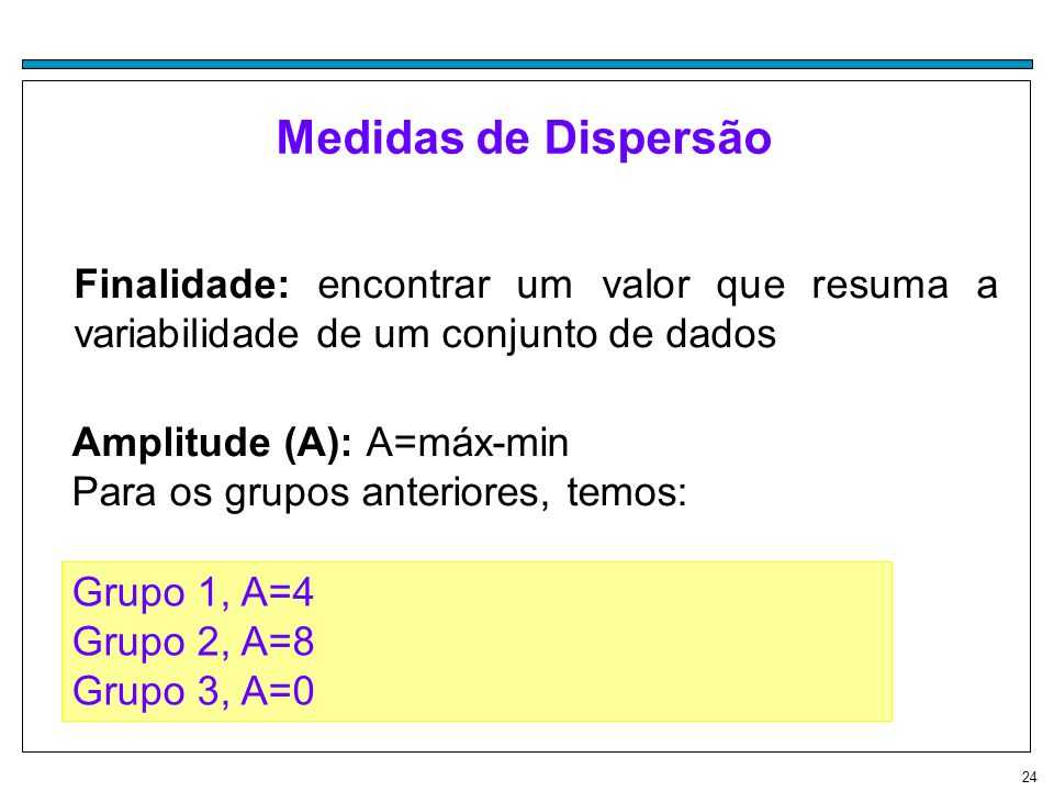 Medidas de DispersãoFinalidade: encontrar um valor que resuma a variabilidade de um conjunto de dados.