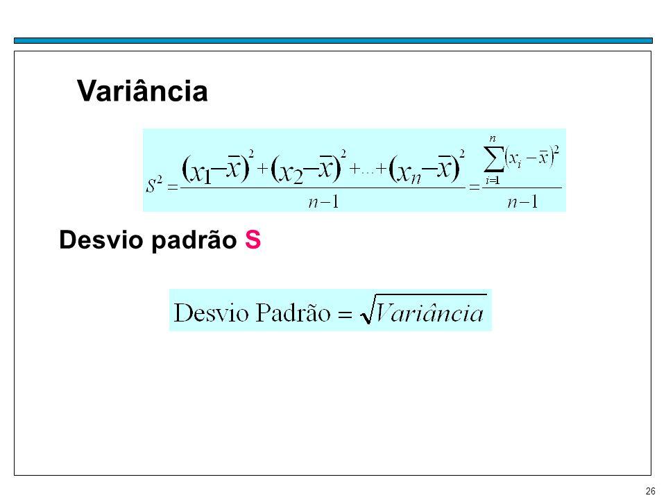 Variância Desvio padrão S