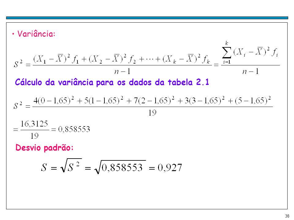 Variância: Cálculo da variância para os dados da tabela 2.1 Desvio padrão: