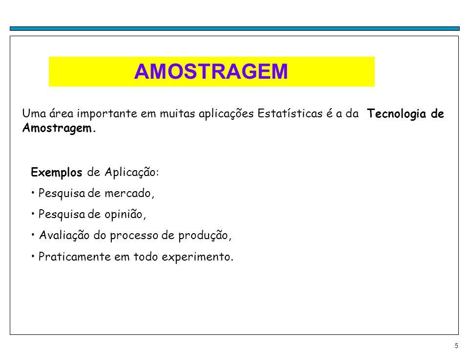 AMOSTRAGEM Uma área importante em muitas aplicações Estatísticas é a da Tecnologia de Amostragem. Exemplos de Aplicação:
