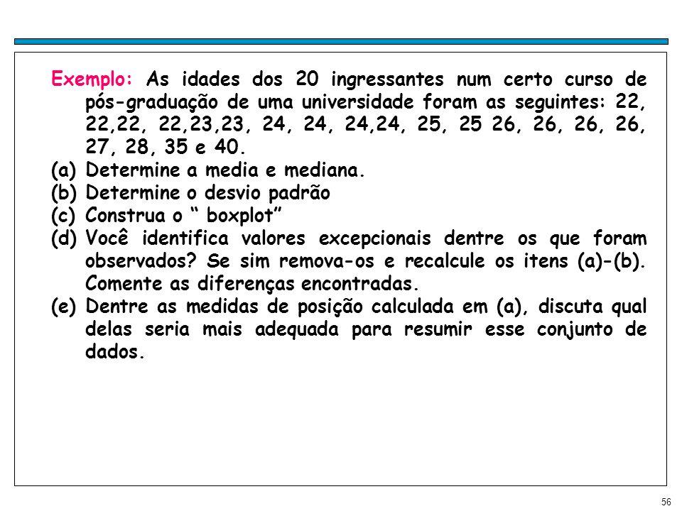Exemplo: As idades dos 20 ingressantes num certo curso de pós-graduação de uma universidade foram as seguintes: 22, 22,22, 22,23,23, 24, 24, 24,24, 25, 25 26, 26, 26, 26, 27, 28, 35 e 40.