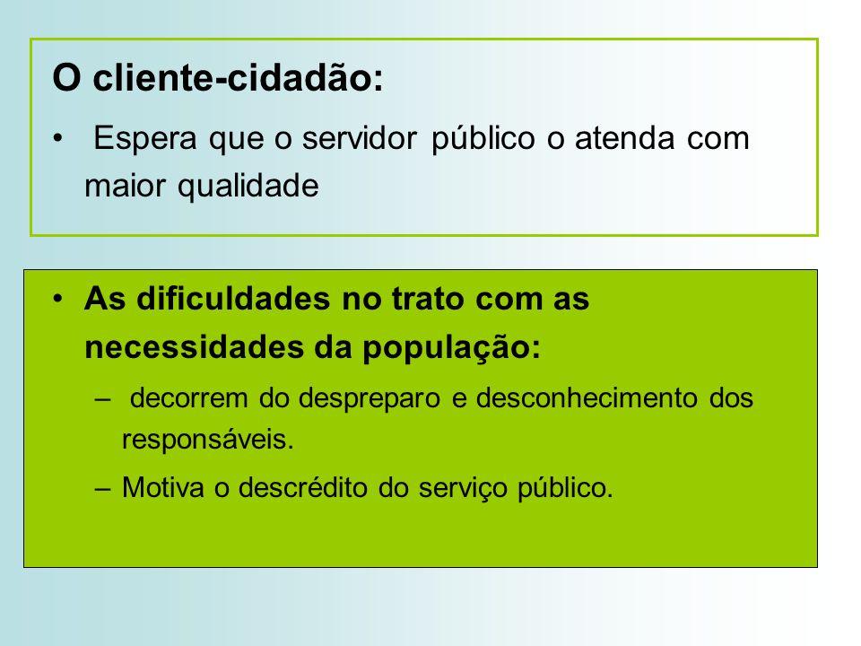 O cliente-cidadão: Espera que o servidor público o atenda com maior qualidade. As dificuldades no trato com as necessidades da população: