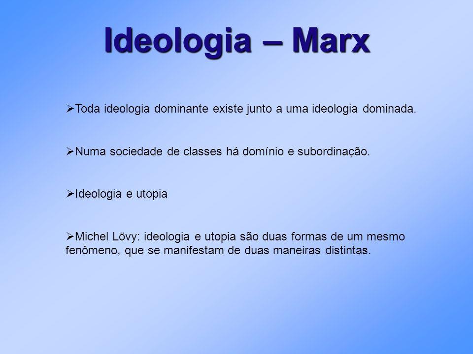 Ideologia – Marx Toda ideologia dominante existe junto a uma ideologia dominada. Numa sociedade de classes há domínio e subordinação.