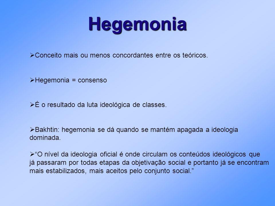 Hegemonia Conceito mais ou menos concordantes entre os teóricos.