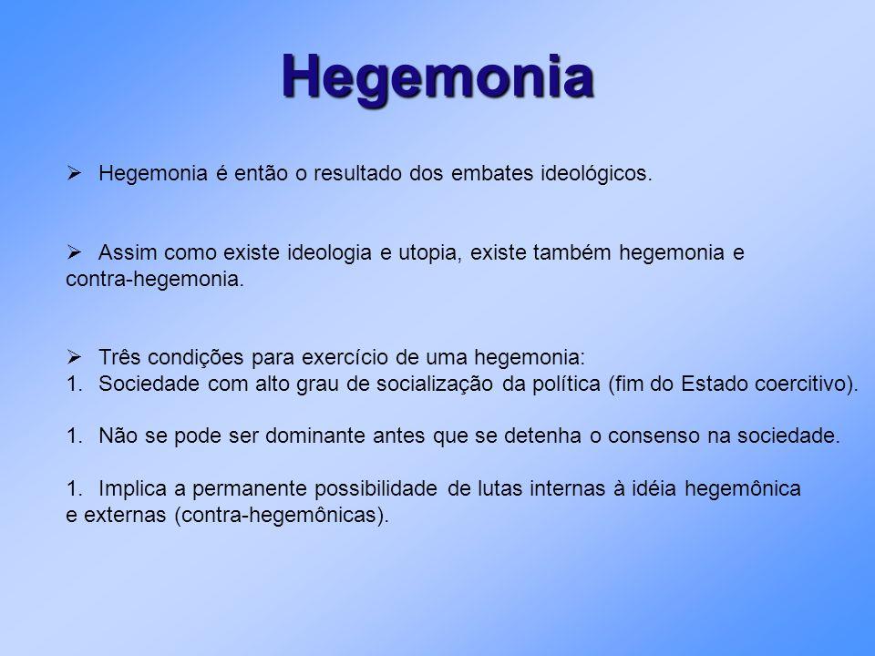 Hegemonia Hegemonia é então o resultado dos embates ideológicos.