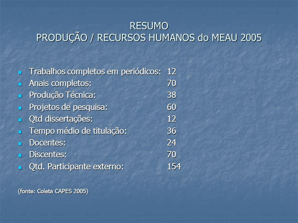 RESUMO PRODUÇÃO / RECURSOS HUMANOS do MEAU 2005
