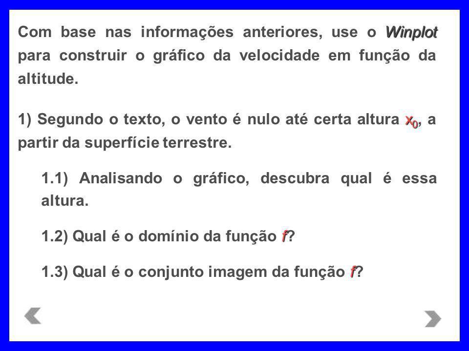 Com base nas informações anteriores, use o Winplot para construir o gráfico da velocidade em função da altitude.