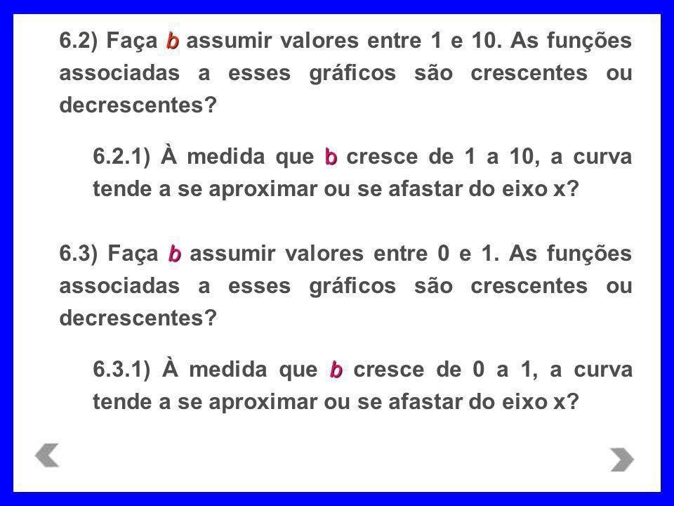 6. 2) Faça b assumir valores entre 1 e 10