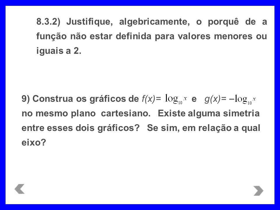 8.3.2) Justifique, algebricamente, o porquê de a função não estar definida para valores menores ou iguais a 2.