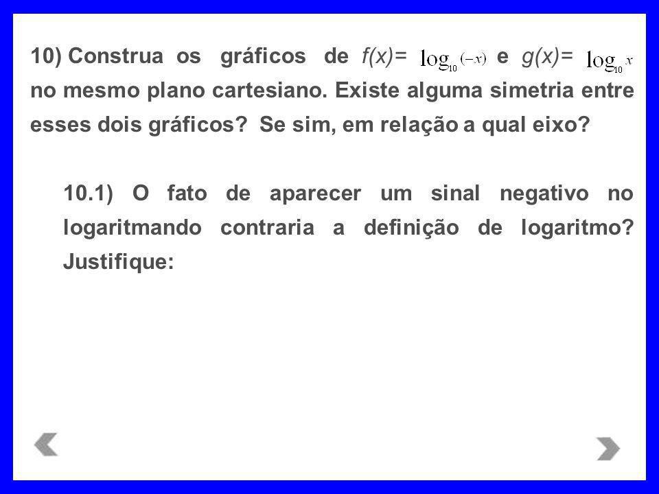 10) Construa os gráficos de f(x)= e g(x)=