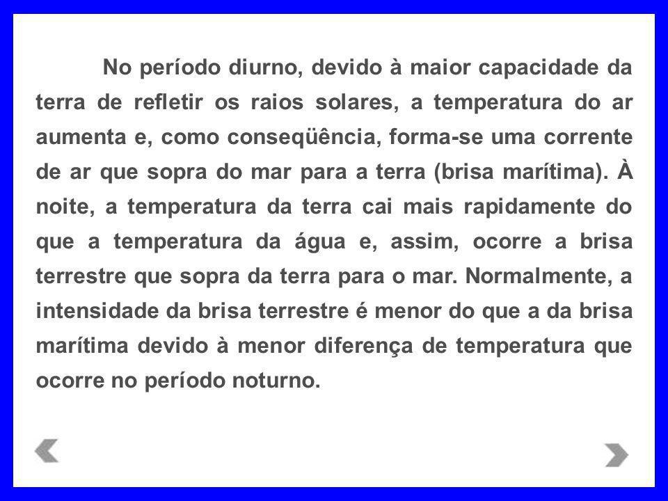 No período diurno, devido à maior capacidade da terra de refletir os raios solares, a temperatura do ar aumenta e, como conseqüência, forma-se uma corrente de ar que sopra do mar para a terra (brisa marítima).