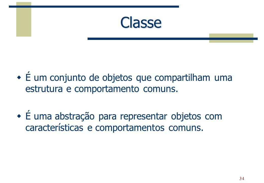 Classe É um conjunto de objetos que compartilham uma estrutura e comportamento comuns.
