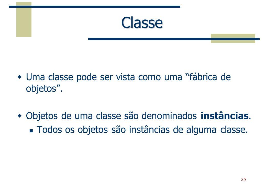 Classe Uma classe pode ser vista como uma fábrica de objetos .