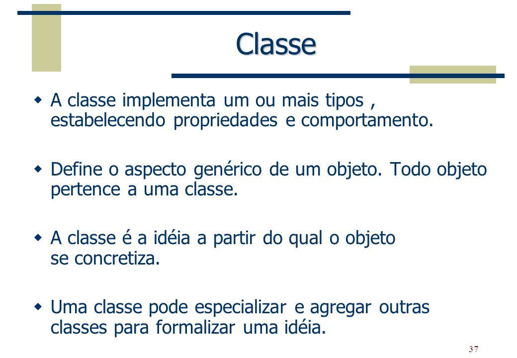 Classe A classe implementa um ou mais tipos , estabelecendo propriedades e comportamento.