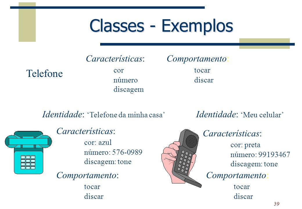Classes - Exemplos Telefone Características: cor Comportamento: tocar