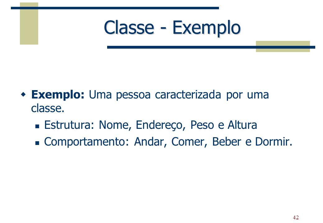 Classe - Exemplo Exemplo: Uma pessoa caracterizada por uma classe.