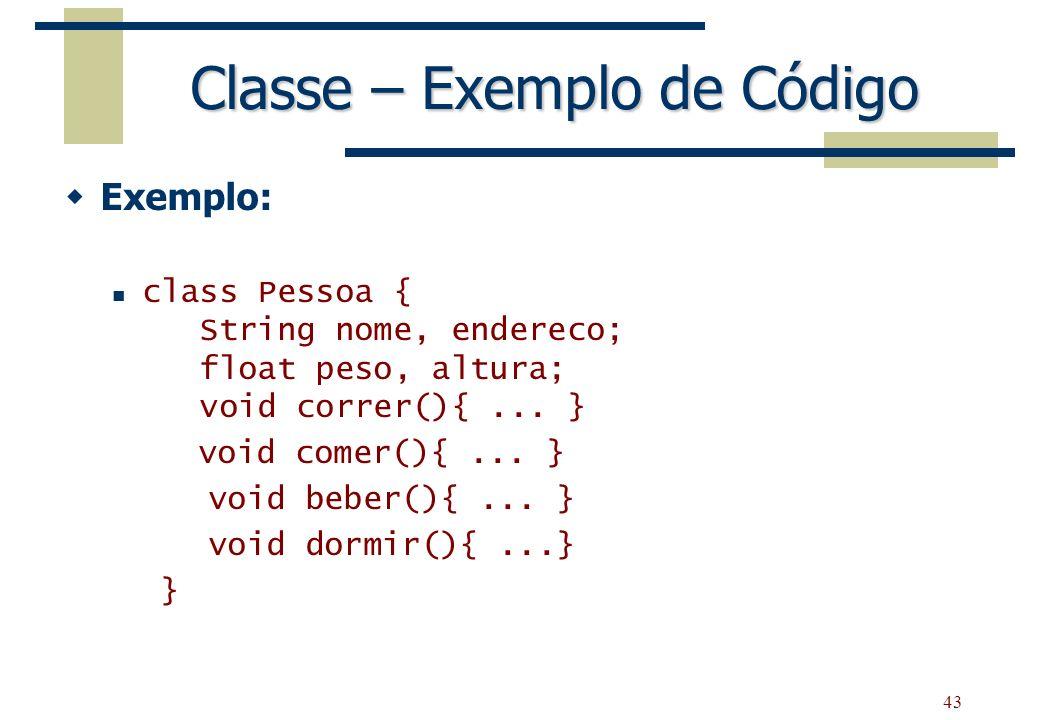 Classe – Exemplo de Código