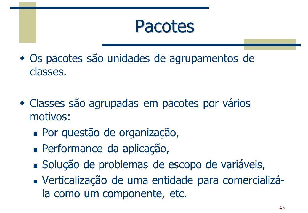 Pacotes Os pacotes são unidades de agrupamentos de classes.