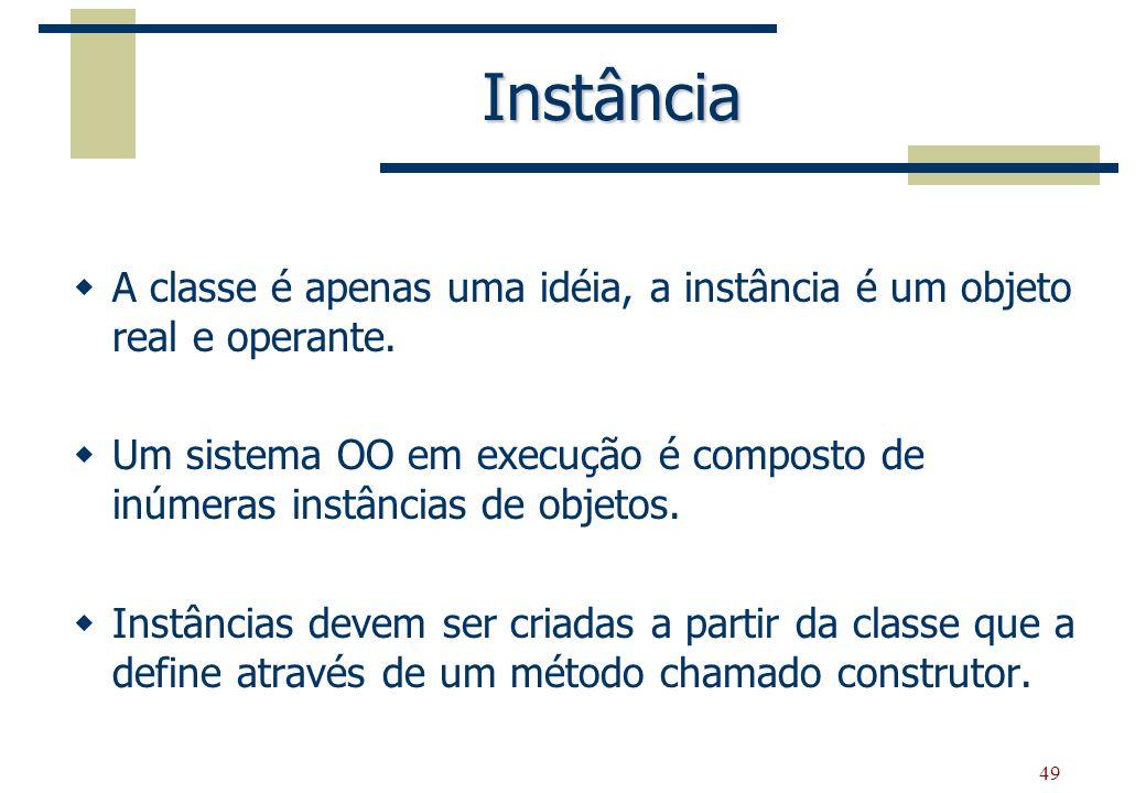 Instância A classe é apenas uma idéia, a instância é um objeto real e operante.