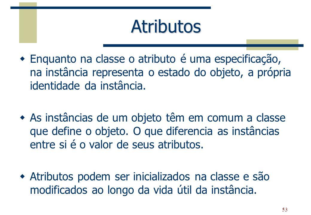 Atributos Enquanto na classe o atributo é uma especificação, na instância representa o estado do objeto, a própria identidade da instância.