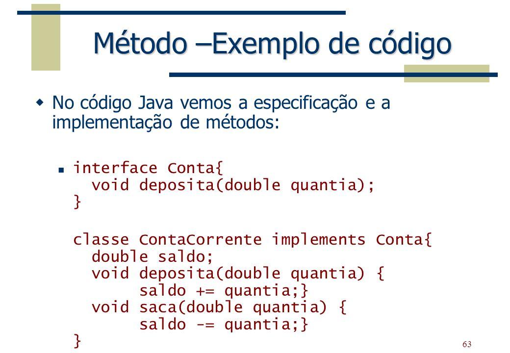 Método –Exemplo de código
