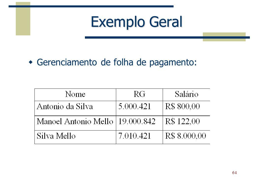 Exemplo Geral Gerenciamento de folha de pagamento: