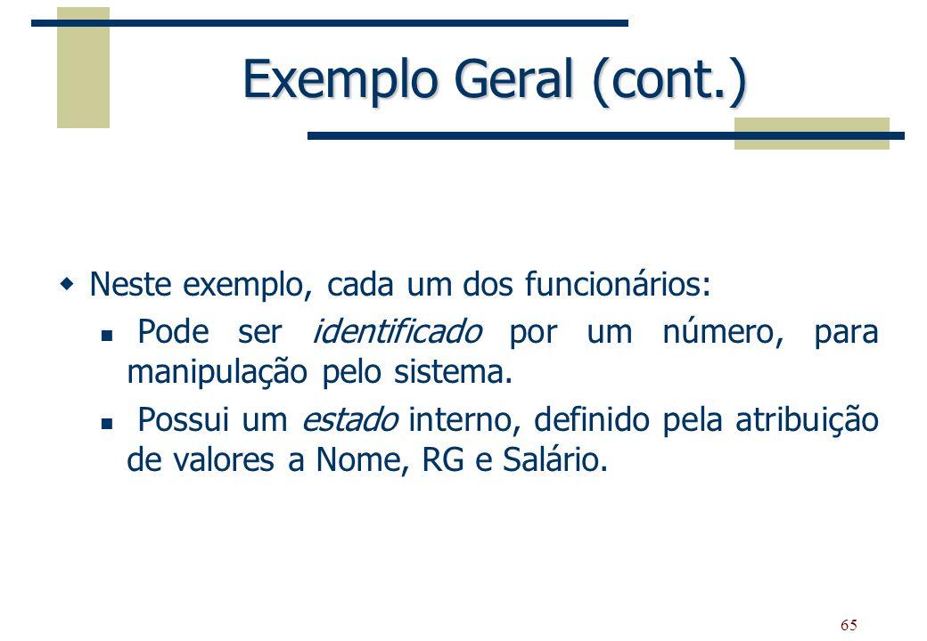 Exemplo Geral (cont.) Neste exemplo, cada um dos funcionários: