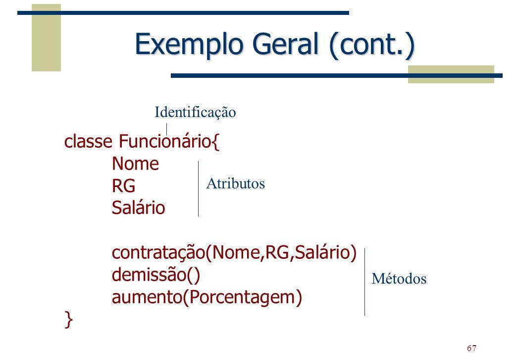 Exemplo Geral (cont.) classe Funcionário{ Nome RG Salário