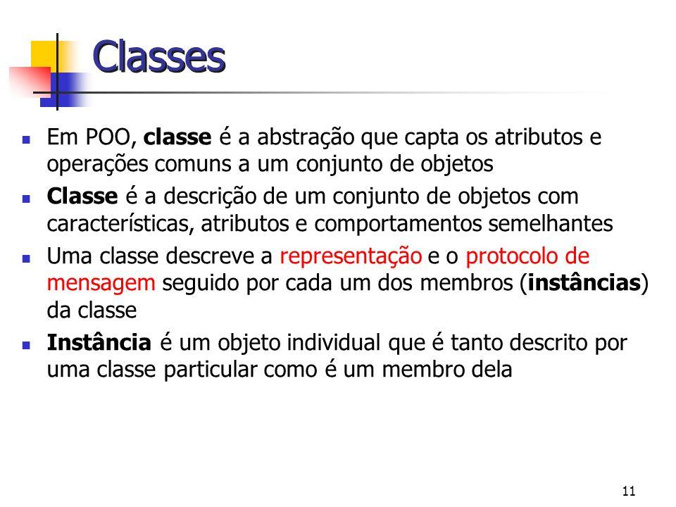 Classes Em POO, classe é a abstração que capta os atributos e operações comuns a um conjunto de objetos.