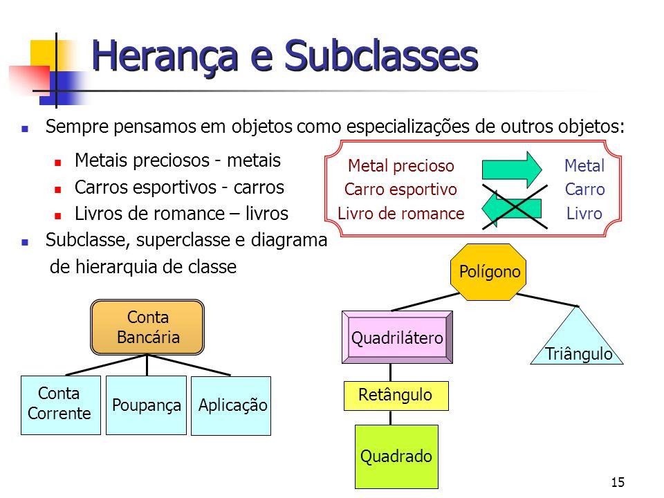 Herança e Subclasses Sempre pensamos em objetos como especializações de outros objetos: Metais preciosos - metais.