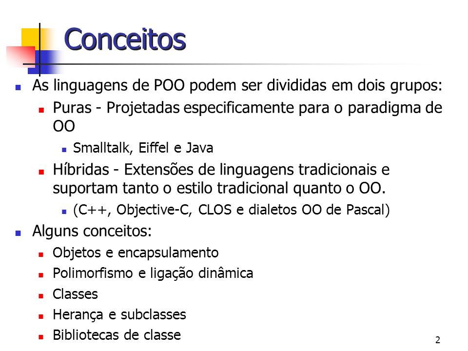 Conceitos As linguagens de POO podem ser divididas em dois grupos: