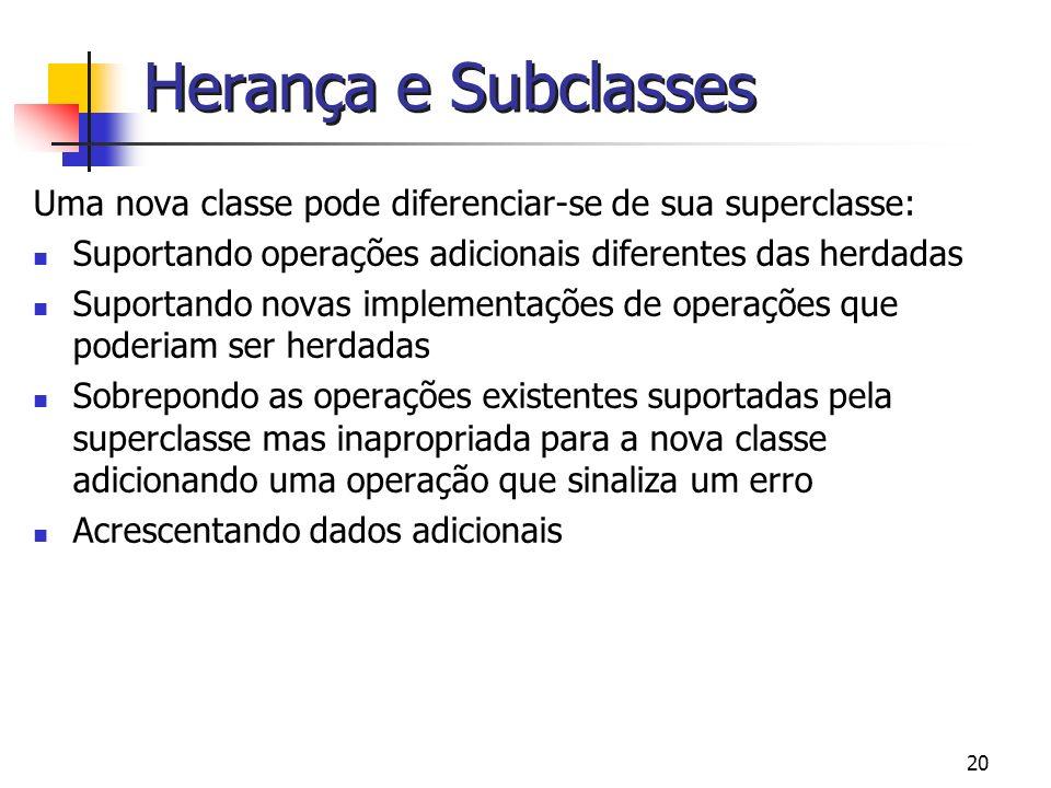 Herança e Subclasses Uma nova classe pode diferenciar-se de sua superclasse: Suportando operações adicionais diferentes das herdadas.