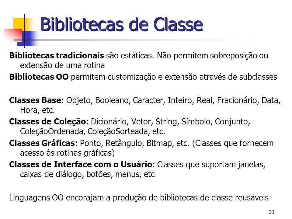 Bibliotecas de Classe Bibliotecas tradicionais são estáticas. Não permitem sobreposição ou extensão de uma rotina.